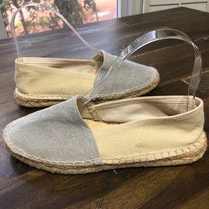 Barney's New York Gray and Cream Espadrille Flats